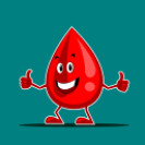 smiling blood drop with thumbs up